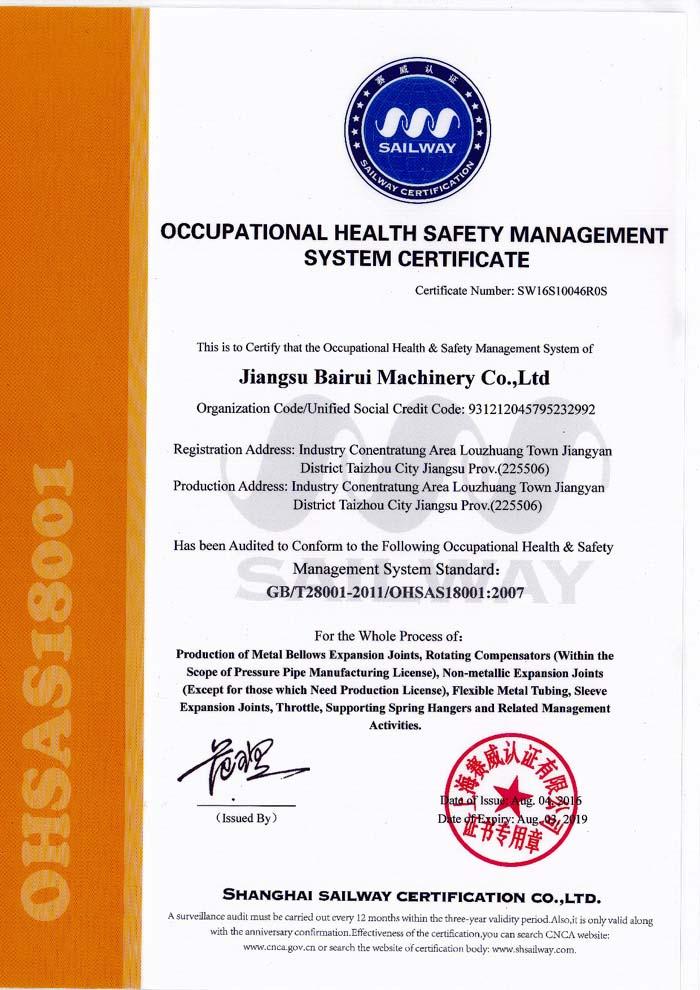 职业健康安全证书英文版